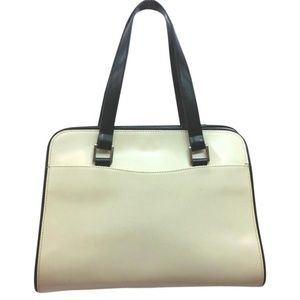 ZA BLACK TRIM CREME LEATHER SATCHEL